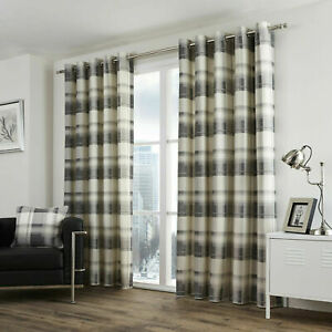 Lined Eyelet Ring Top Curtains Pair