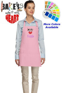 Personalized Apron With Bakers Heart Embroidery Design Kitchen Baker