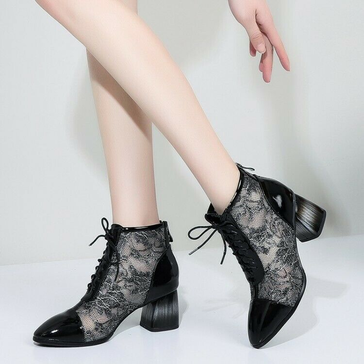Women Pointed Toe Block High High High Heel Lace Up Floral Ankle Boots Fashion Booties 9e4049