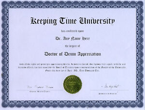 Doctor Drum Appreciation Novelty Diploma Gag Gift Pure Blancheur