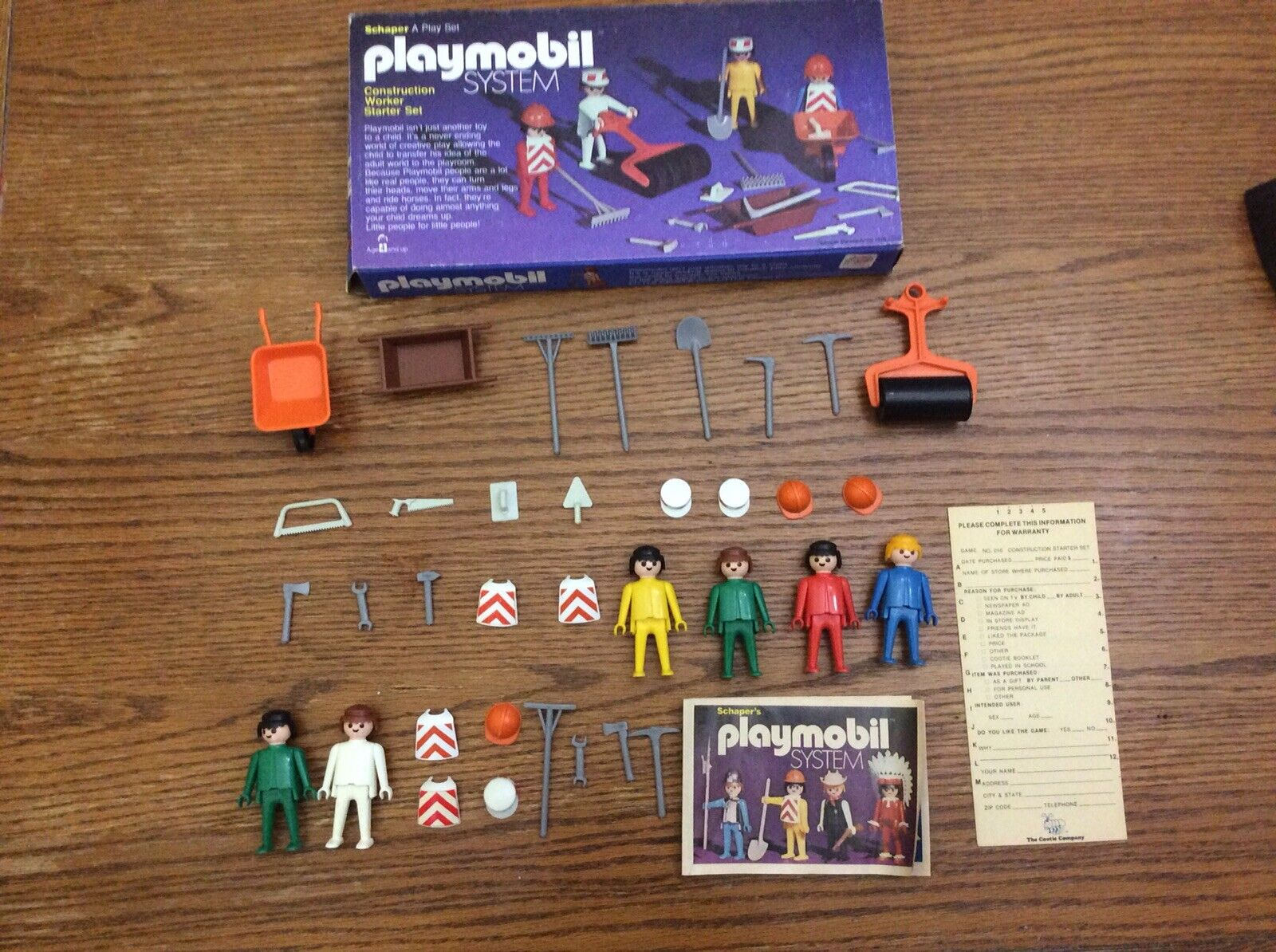 1976 Vintage Playmobil Schaper CONSTRUCTION Worker Set No.016 complet avec boite etc
