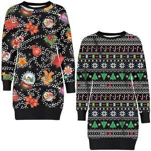 Details zu Frauen Süßigkeiten Thermisch Neuheit Weihnachten Stricken Sweatshirt Jumper