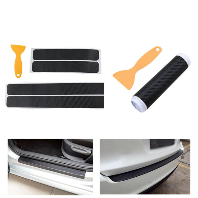 3D 5x Accessories Carbon Fiber Car Scuff Plate Door Sill Sticker Panel Protector