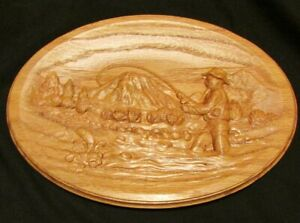 Details About Oak Carved Fishing Plaque Cabin Decor Outdoor Man Cave Lake