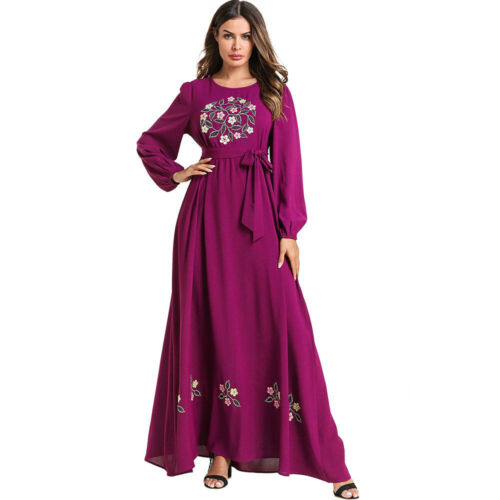 Muslim Women Abaya Dubai Embroidery Maxi Dress Robe Islamic Kaftan Jilbab Gown