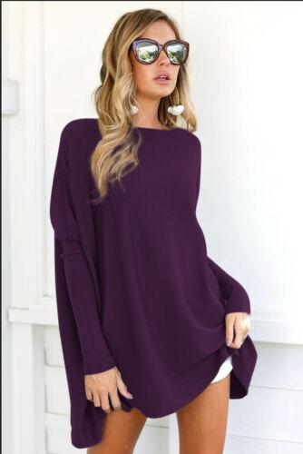 Tunic Womens Batwing Mini Dress Jumper Long Sleeve Sweater Tops Plus Size Casual