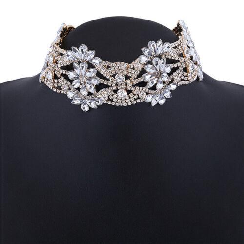 Collier Fleur Collier Fashion Pendentif Bijoux Cristal Déclaration Chunky Choker