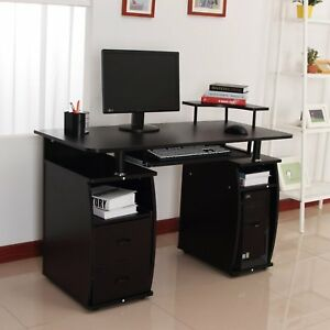 Dorm-Computer-Desk-Writing-Table-Drawer-PC-Cabinet-w-Elevated-Shelf-Home-Office