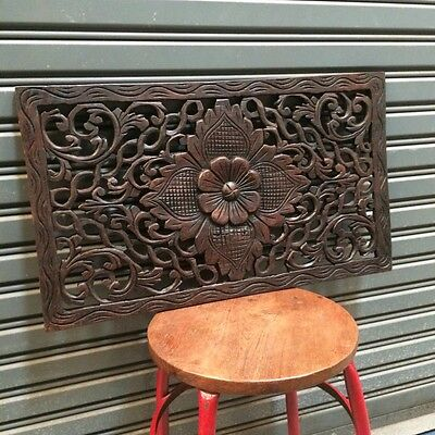 23-inch Teak Wood Floral Handcrafted Wood Carving Wall Panel Wall Sculpture