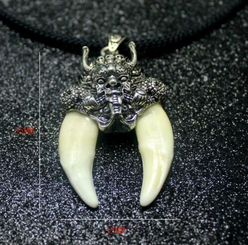tooth Tibetan Silver Wolf necklace Antiques Man Dragon Head Pendant Statues