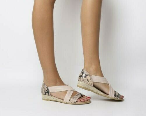 Womens Office Hallie Cross-Strap Espadrille Nude Leather Snake Sandals