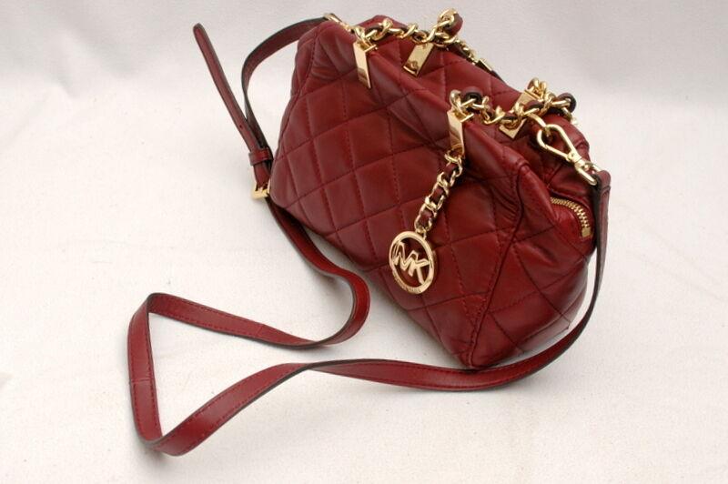4f37cf7274f Michael Kors Susannah Claret Small Leather Satchel Handbag Purse Red ...