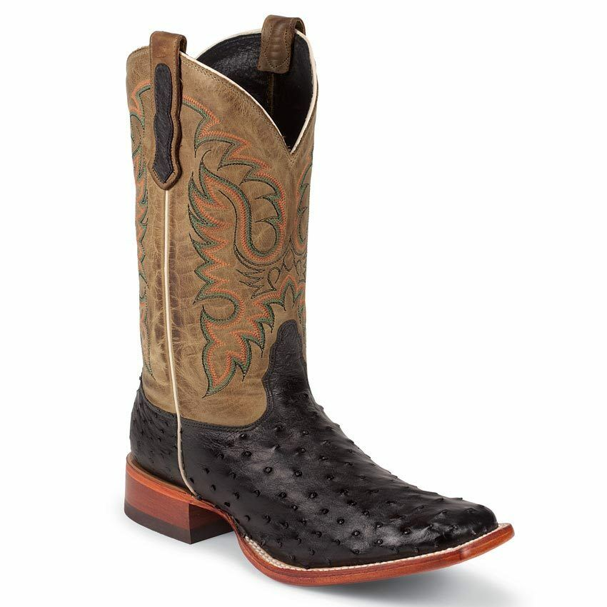 Nocona Men's Black Full Quill Ostrich Western Cowboy Boot Square Toe - MD6506