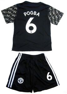 huge discount 1ca5f 30c90 Details about Manchester United Soccer Black Away Jersey Shorts Pogba # 6  Uniform Kids Youth