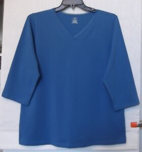 CJ-Banks-Plus-Size-1X-Blue-knit-top-V-NECK-with-lace-trim-3-4-sleeve-NWT