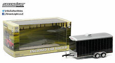 1:64 GreenLight *HITCH & TOW* BLACK = ENCLOSED CAR TRAILER TANDEM AXLE *NIB*