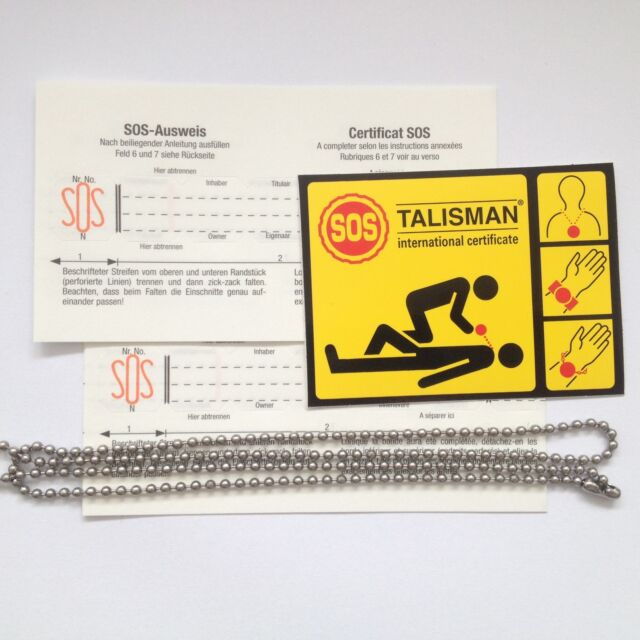 SOS Talisman pack: 2 spare information strips, necklace & sticker, FREE SHIP WW