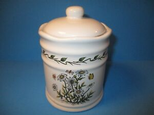 Lillian-Vernon-Small-Canister-Lidded-Jar-Botanical-Flowers-Butterflies-Ceramic