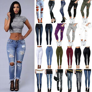 Womens-Casual-Destroyed-Ripped-Jeans-Trousers-Stretchy-Slim-Leggings-Denim-Pants