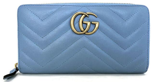 4f9173d8491 Authentic GUCCI wallet round fastener Mermont 443123 light blue