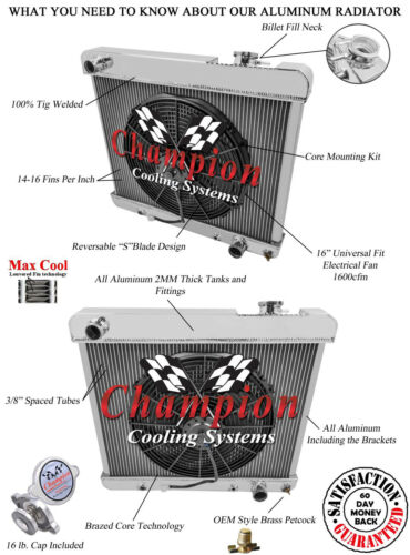 "16/"" Fan 1963 1964 1965 1966 Chevy Truck C10 C20 C30 3 Row Aluminum AR Radiator"