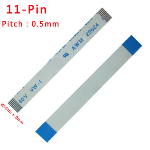 Pitch 0.5mm 11Pin FFC//FPC Flexible Flat Cable 80C 60V VW-1 50-3000mm Width 6mm