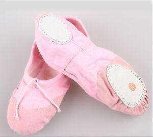 Lovely-Pink-Girls-Lady-Comfortable-Canvas-Ballet-Dance-Flat-Shoes-UK-Sz-2-5-13-5