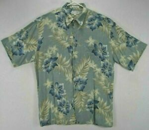 Pierre-Cardin-Maenner-L-Hawaii-Shirt-blau-Blumen-Kurzarm-Knopfleiste-Viskose-EUC