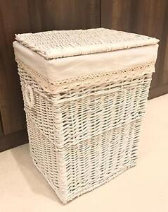 White-Home-Decor-Storage-Basket-3-Sizes-Resin-Woven-Hamper-Wicker-Rattan-Lid