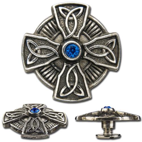 Concho Zierschraubniete Keltisches Kreuz mit Stein /'Sapphire/' ø 25mm