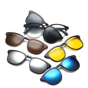 6968196668e Image is loading 5-Pcs-Classic-Magnetic-Clip-on-Sunglasses-Rectangle-