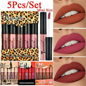 Waterproof-Long-Lasting-Matte-Lip-Gloss-Liquid-Lipstick-Cosmetic-Makeup-5Pcs-Set