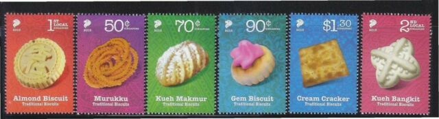 SINGAPORE 2015 TRADITIONAL BISCUITS COOKIES COMP. SET OF 6 STAMPS IN MINT MNH