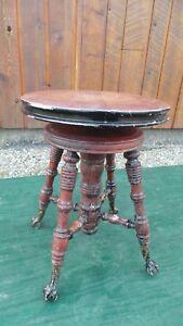 VICTORIAN-Antique-Wood-PIANO-STOOL-Adjustable-Height-Beautiful-Legs-WOODSTOCK-ON