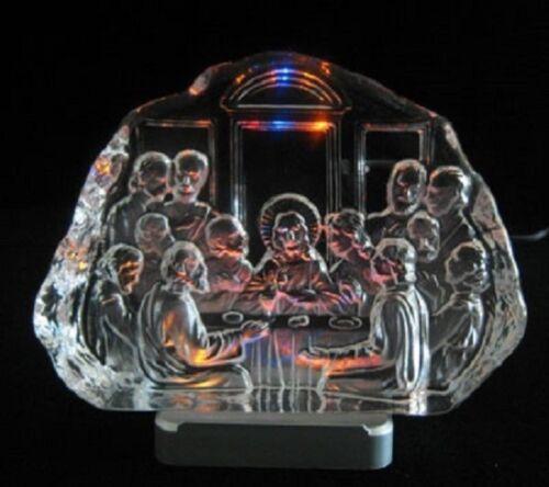 Engraved lead crystal Last Supper on LED color light base