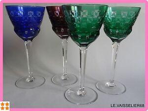4 Anciens Verres A Vin De Couleur Roemer Cristal Art Deco Poschinger Weingläser Et D'Avoir Une Longue Vie.