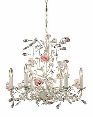 French Country Cottage Rose Porcelain Chandelier Vintage Chic Floral Light