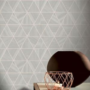 Arthouse-Gris-Dore-Rose-Placage-Triangle-Papier-Peint-901703-Metallique-Meches