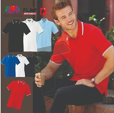 Fruit Of The Loom 63032 Men/'s Tipped Premium Cotton Polo T Shirt Size S-3XL