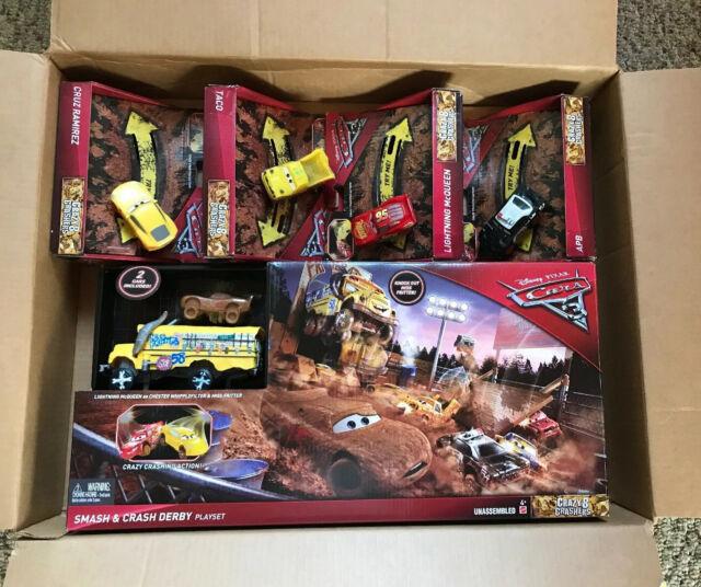 Crazy 8 Crashers Smash Crash Derby Playset Miss Fritter Bus Disney Pixar Cars 3