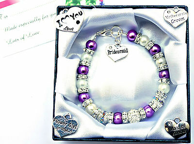 Personalised Wedding Charm Bracelet Bridesmaid Flower Girl Thank You Gift In Box