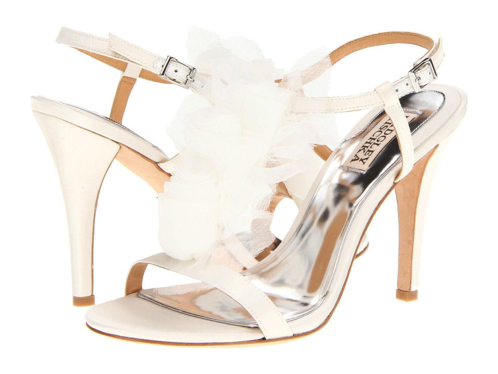 Badgley Mischka Size 10 White Satin Heel Sandal shoes Msrp