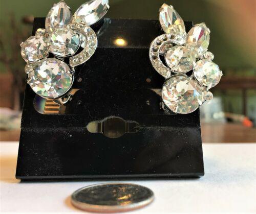 Delicate Milgrain Design 1940s-1950s Vintage Art Deco Silver Tone and Rhinestones Ear Climber Screw Back Earrings Formal. Bridal Wedding