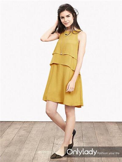 Banana Republic Tierot Crepe Dress, Gelb Größe 4          v918
