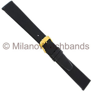 19mm-Speidel-Black-Soft-Unstitched-Genuine-Calf-Fancy-GoldTone-Buckle-Watch-Band