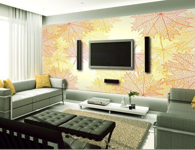 3D foglie Farbeate 47 Parete Murale Carta da parati immagine sfondo muro stampa