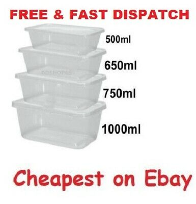 All Sizes Plastic Containers Tubs Clear With Lids Microwave Safe Food Takeaway