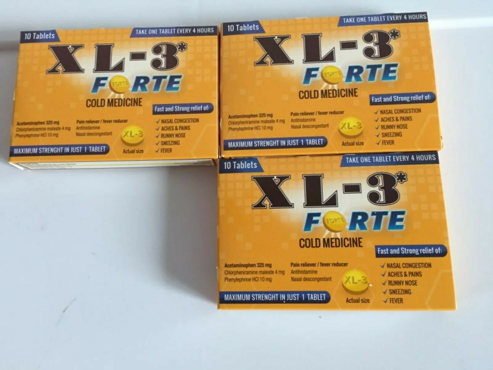 Health Care Cold Medicine Tablets XL3 Forte, 10ct pack of 3 Exp Date:- 10/2021