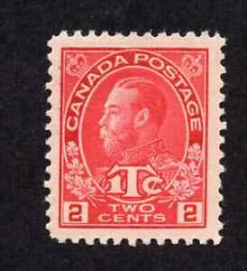 Canada-MR3-2-Plus-1-Cent-Carmine-King-George-V-Admiral-War-Tax-Issue-MNH