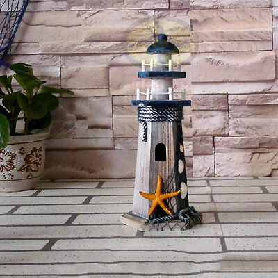 "10.4""tall Nautical Decor wood Ocean Beach Lighthouse Beaconhouse Ornament Figure"
